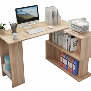 مكتب خشب مودرن بأرفف و وحدة مكتبة - اثاث مكتبى