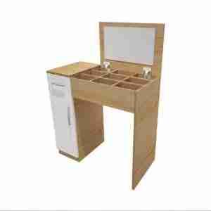 تسريحة خشب بدرج و منظم مكياج و وحدة تخزين لغرفة النوم