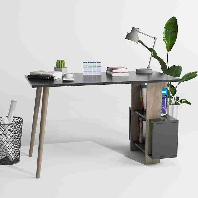 مكتب خشب مودرن بوحدات ارفف جانبية مقاس 120سم - اثاث مكتبي