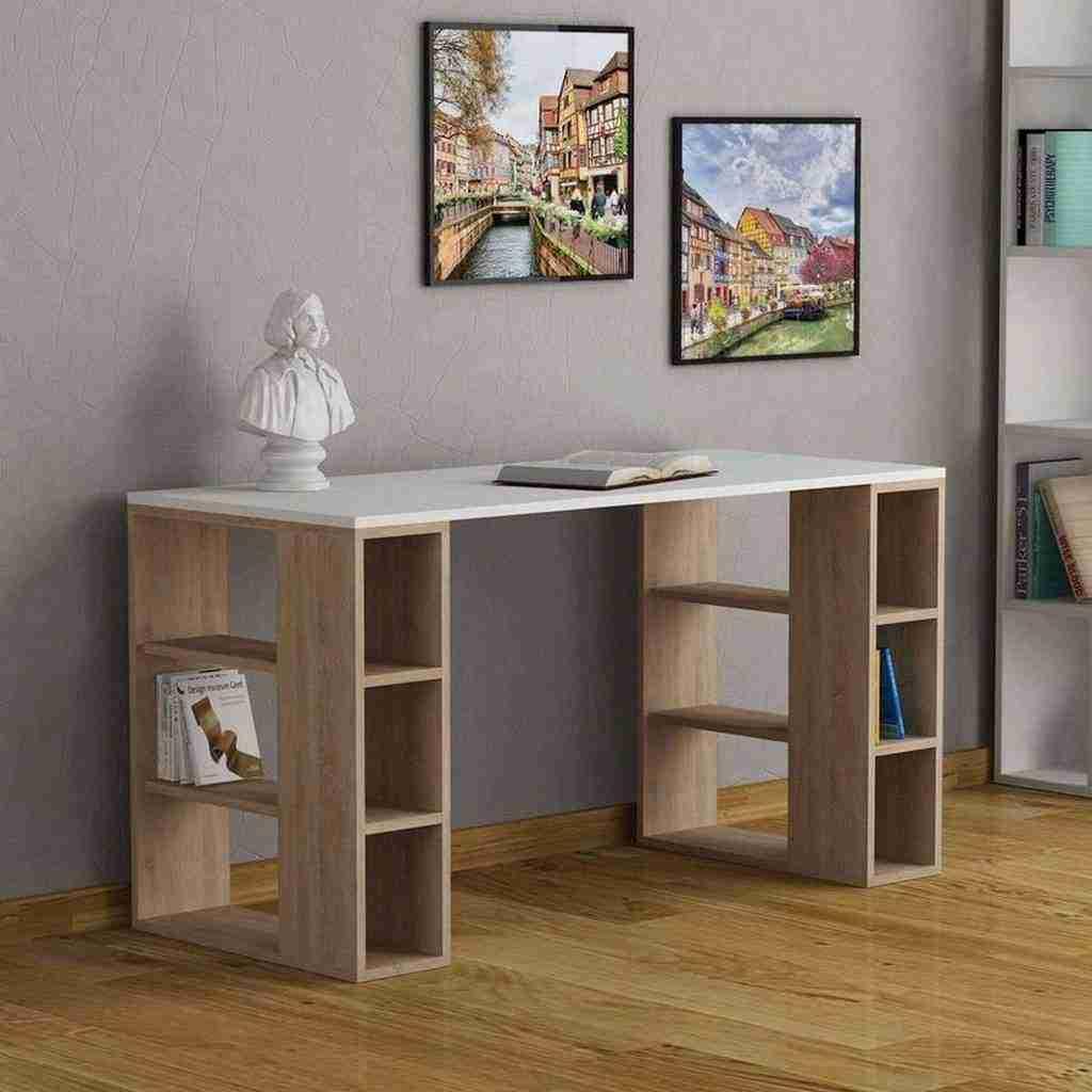 مكتب خشب بوحدتين ارفف جانبية