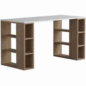 مكتب خشب بوحدين ارفف جانبية