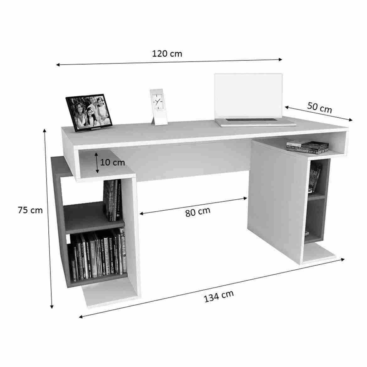 مكتب خشب مودرن يشمل ارفف جانبية مقاس 120سم - اثاث مكتبي