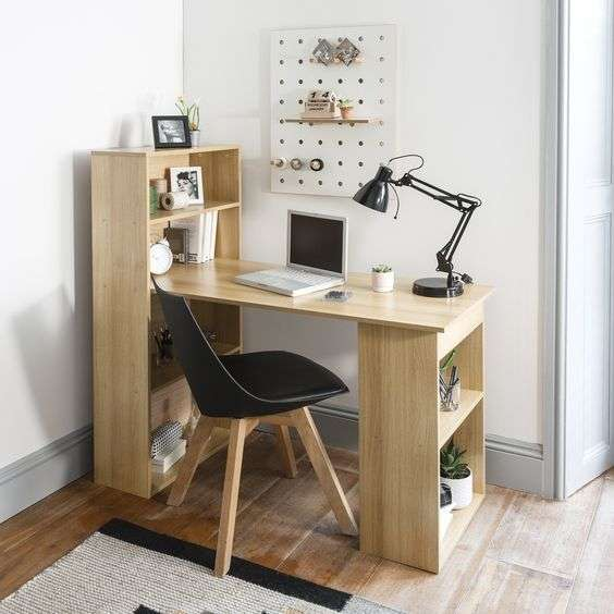 Office furniture- wood desk with side shelve and storage unit 120*50*75