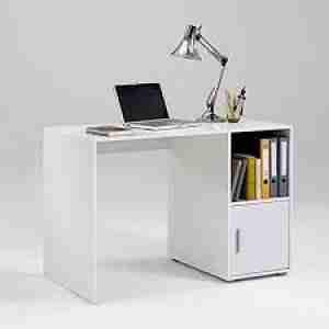 مكتب خشب يشمل وحدة تخزين و رف جانبي